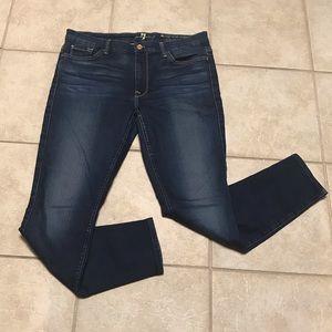 7FAM High Waist Skinny Ankle Jeans Dark Wash Sz 32
